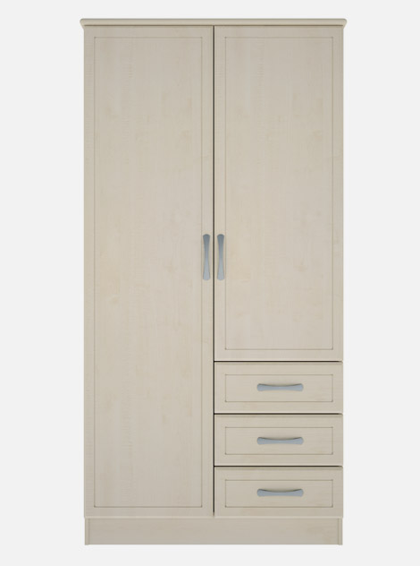 Care Home Double Wardrobe 3 Drawer Kew Carechair